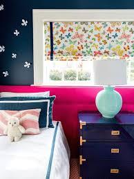 Dark Pink Bedroom - pink and navy blue shared girls bedroom transitional