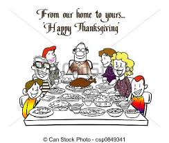 clipart of happy thanksgiving a family is sitting at the table