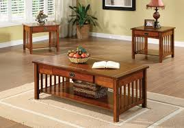 seville mission style oak finish three piece living room table set