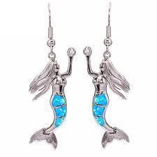 mermaid earrings blue opal mermaid earrings helping animals at risk