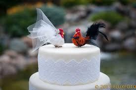 wedding cake ornament barnyard chicken cake topper and groom