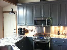 stainless steel subway tile backsplash grey kitchen cabinets