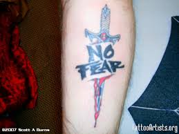 no fear tattoo design with dagger on leg finished fear tattoos