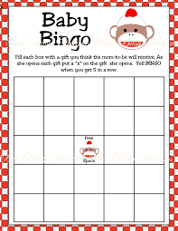 printable sock monkey baby shower bingo game bee busy designs