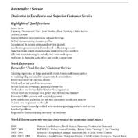Sample Functional and Summary Of Qualifications and Relevant Skill     Brilliant Dedicated to Excellent Superior Customer Service and Highlights Resume Sample Bartender a part of under