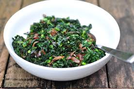 nourishing meals kale with caramelized onions