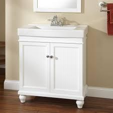 white wood bathroom vanity have double doors used singke sink