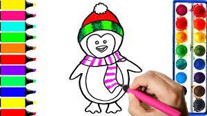 penguin wearing watermelon hat coloring pages learn colors for