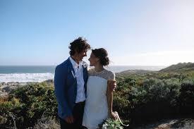 relaxed beachside backyard wedding polka dot bride