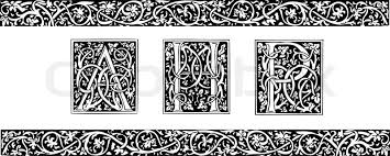 initials and ornamental border in style stock vector