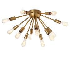 Brass Ceiling Light Lights Ceiling Flush Mount Lighting 12 Light Aged Brass