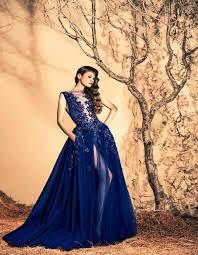 ziad nakad 2016 navy blue evening dresses high neck sheer panel
