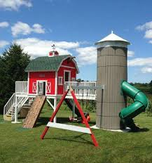 Diy Backyard Swing Set Farmhouse Playset With Silo Slide Building Plans Pinterest