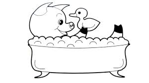 funny pig in a bathtub with toy duck coloring art colors for kids