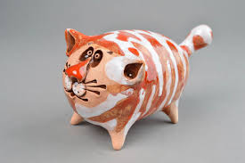 Home Decor Figurines Madeheart U003e Ceramic Animals Handmade Cat Figurines Homemade Home