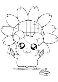 sunflower hamtaro coloring pages cartoon coloring pages of