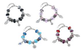 charm bracelet with evil eye images Crystal evil eye charm bracelet groupon goods jpg
