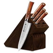 kitchen knives block set tamahagane san tsubame pakkawood 5 hammered knife block set