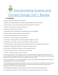 environmental science and climate change unit 1 review answer