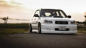 stanced subaru forester скачать обои tuning japan low face white sti forester front