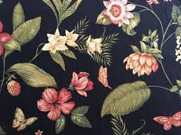 kingsway caribbean dawn black tropical floral drapery home decor
