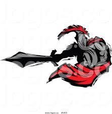 royalty free vector of a logo of a spartan roman warrior stabbing