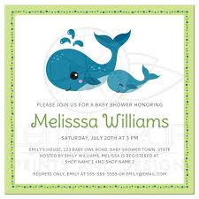 mommy and baby whale baby shower invitation with lime green and