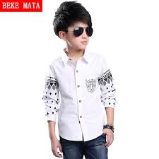 2016 sleeve boys shirts patterns cotton white