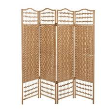 amazon com 4 panel beige wood woven design decorative partition