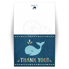 baby shower thank you cards whale on blue denim birthday or baby shower thank you card