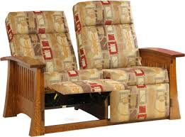 craftsman mission wallhugger love seat recliner indiana amish