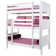Maxtrix HOLY Triple Bunk Bed In White With Panel Bed Ends - Maxtrix bunk bed