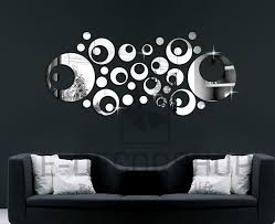 silver mirror wall decal stickers home decor living room abstract