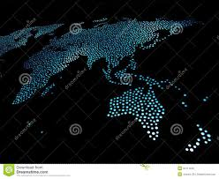 Pacific Region Map World Map In Blue Lights Stock Photography Image 34111242