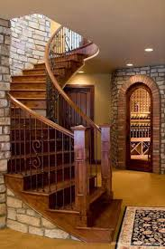 basement with sweeping wooden stair basement stair design ideas