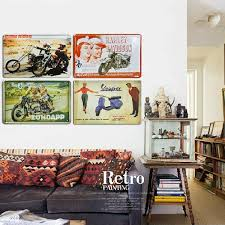 mtrstore motorcycle iron painting wall decor retro style 20 x 30