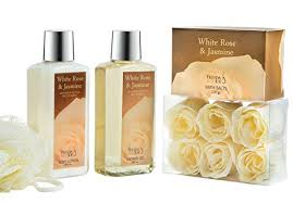 Spa Gift Sets White Rose Jasmine Spa Gift Set In Wood Curio 190ml Body Lotion