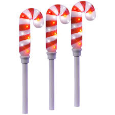 battery operated candy cane lights lightshow 21 26 in sparkle candy cane pathway stakes set of 3