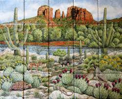 kitchen wall tile ideas bloomingcactus desert scenery wildlife decorative painted tile murals glass by