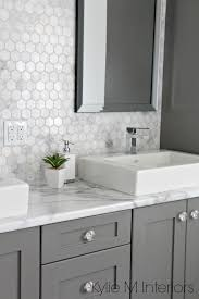 bathroom tile white and grey marble marble subway tile shower