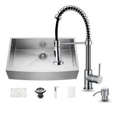 Kitchen Sink And Faucet Sets Vigo All In One Farmhouse Apron Front Stainless Steel 36 In