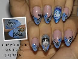 tim burton u0027s corpse bride halloween nail art tutorial how to