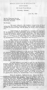 az bureau letter from the hubbard association of scientologists az