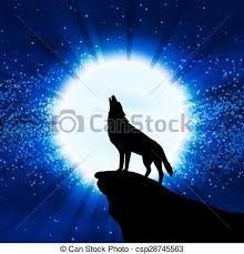 wolf howling at the moon vector illustration clip vector