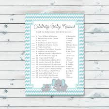 celebrity baby shower game printable elephant baby shower