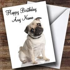 beautiful pug dog personalised birthday card amazon co uk office