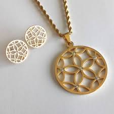 stainless steel necklace pendants images Modern gold finish long stainless steel necklace set jpg