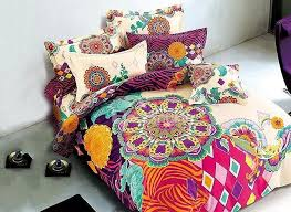 european style colorful big flowers printing 4 piece duvet cover