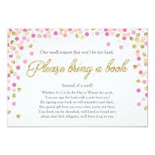 baby shower bring a book instead of a card baby shower bring a book pink gold glitter girl card zazzle