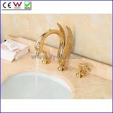 Swan Bathroom Faucet Fyeer Newest Gold Plated Dual Handle Swan Bath Faucet Bathroom